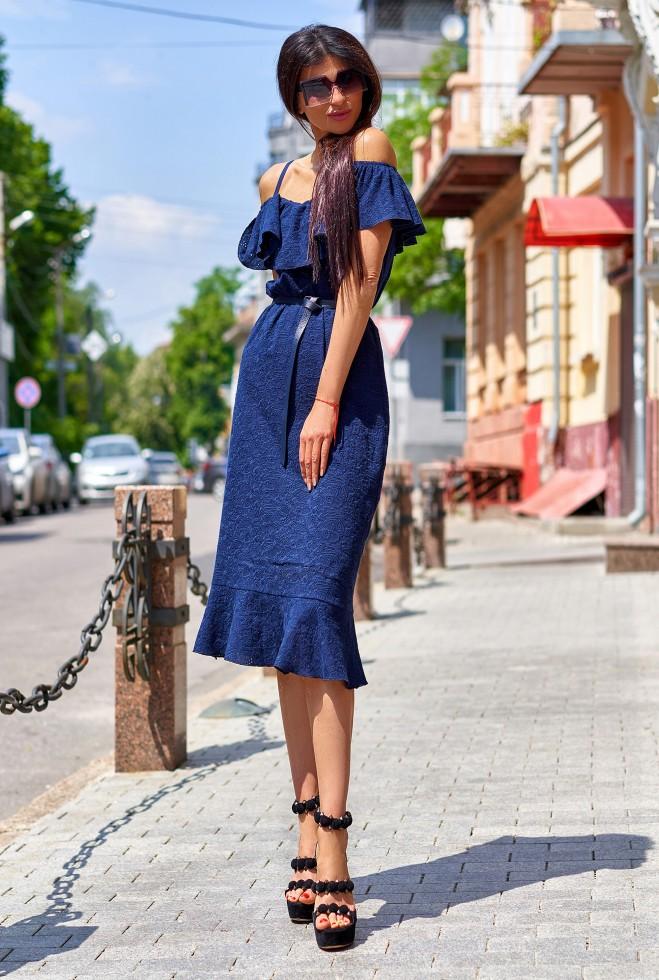 Платье Клео без ремня тёмно-синий
