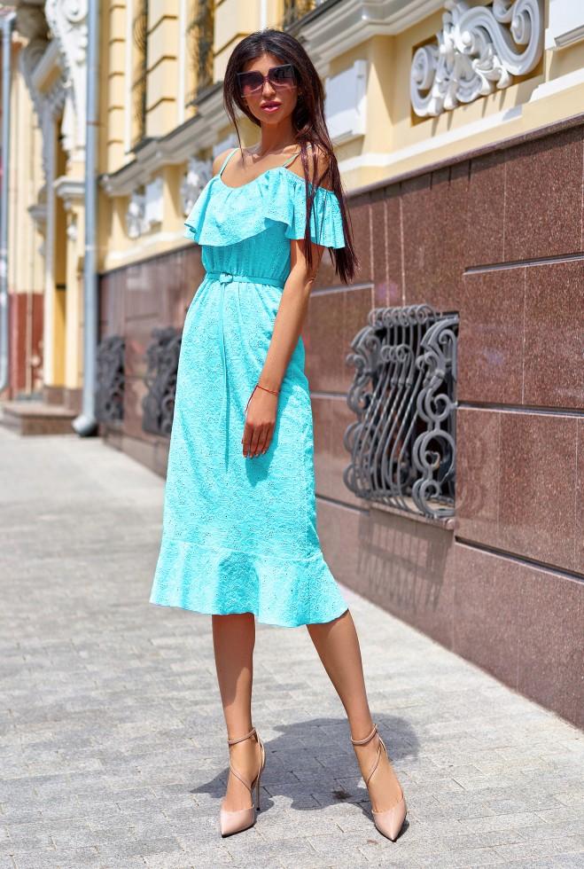 Платье Клео без ремня бирюзовый