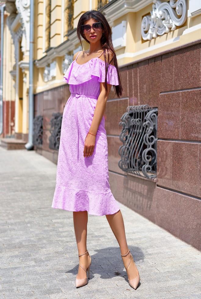 Платье Клео без ремня сиреневый Жадон
