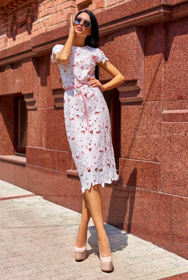 Платье Лика без ремня персиковый