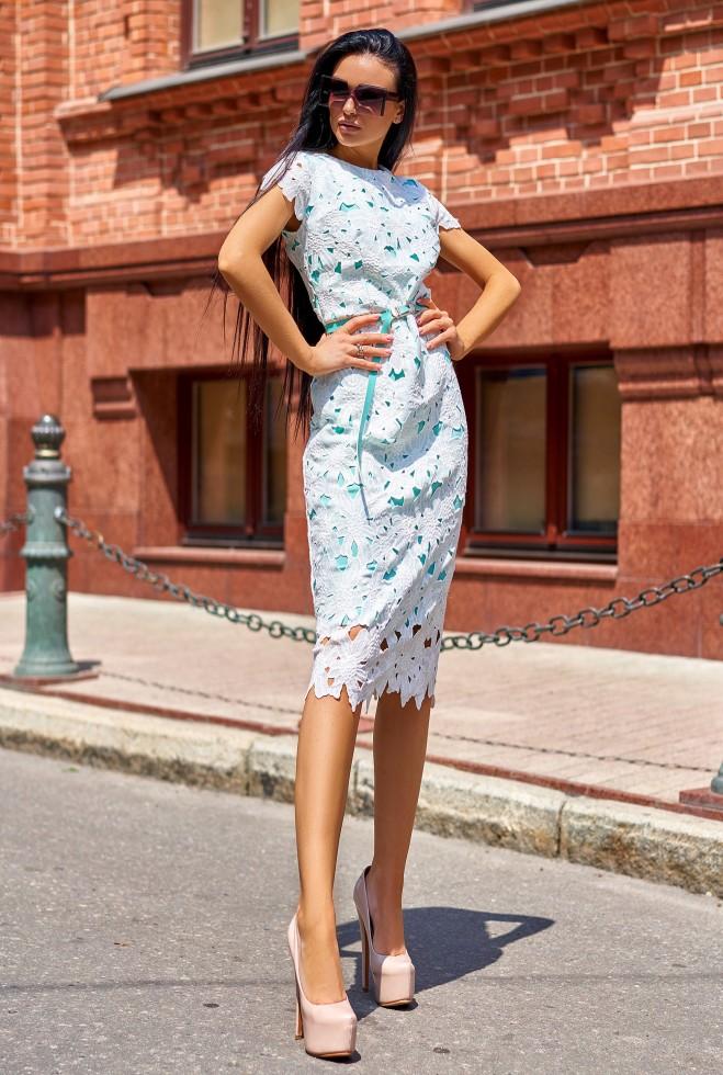 Платье Лика без ремня бирюзовый
