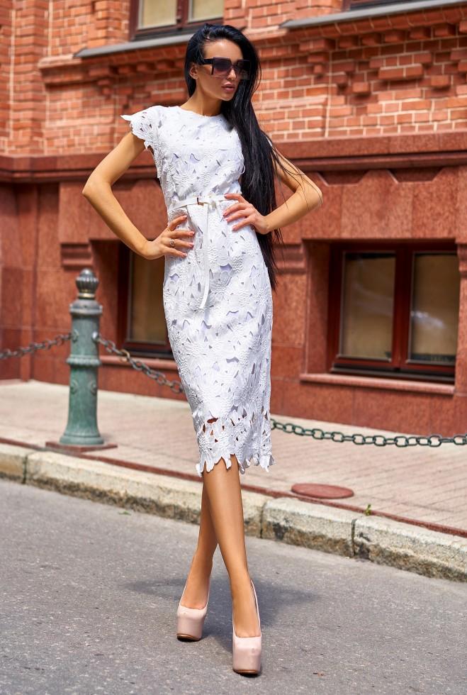 Платье Лика без ремня белый Жадон