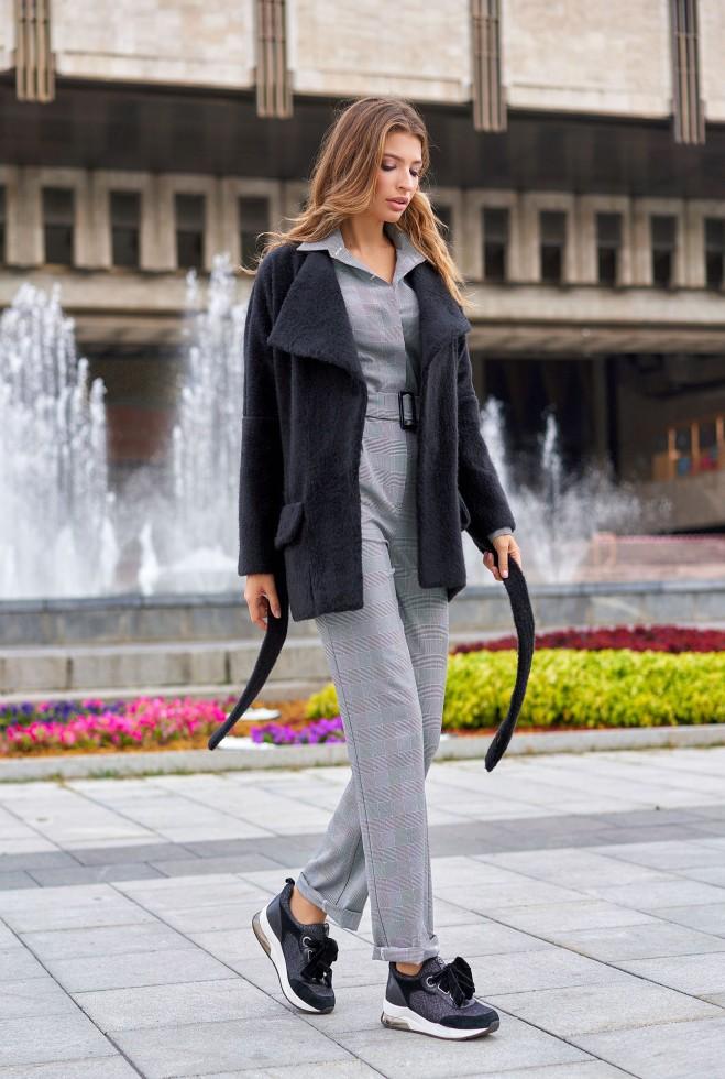 Укороченное пальто Доминика черный