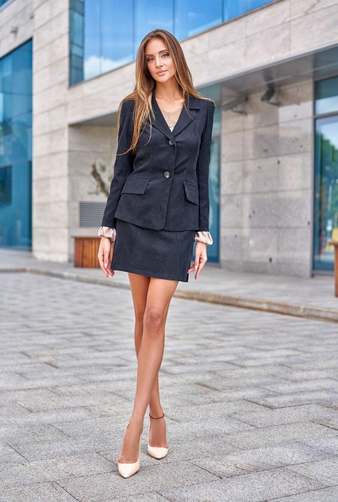 Костюм Зарина с юбкой черный