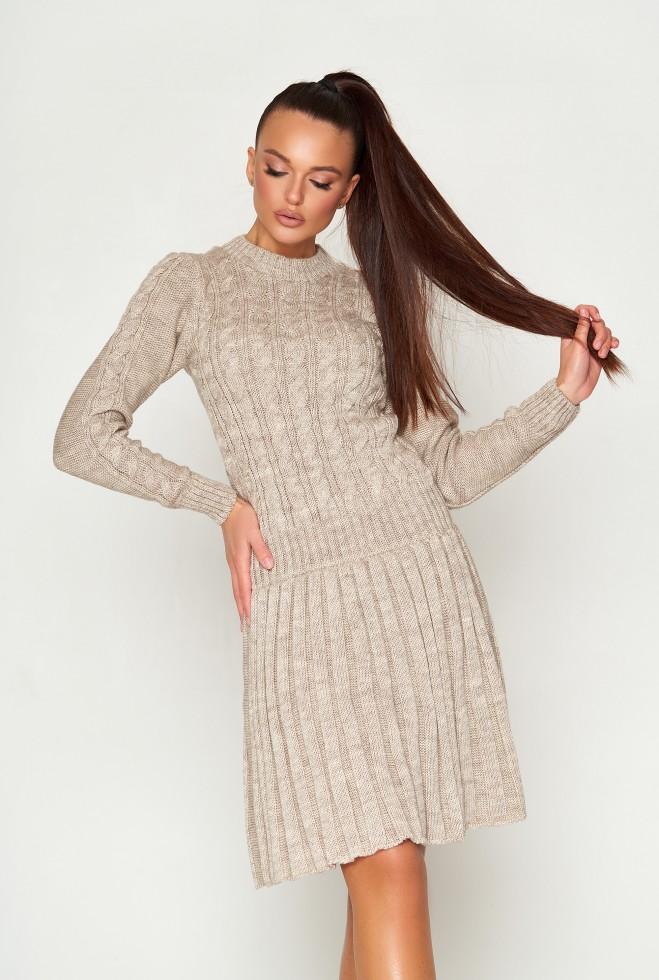 Платье вязаное ПЛ02 бежевый