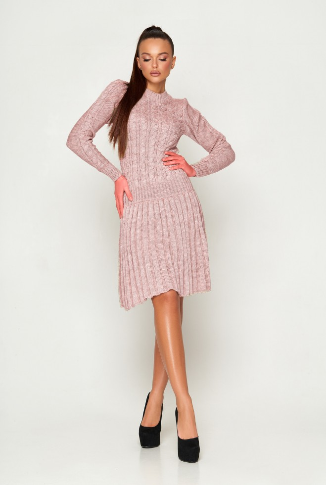 Платье вязаное ПЛ02 пудра