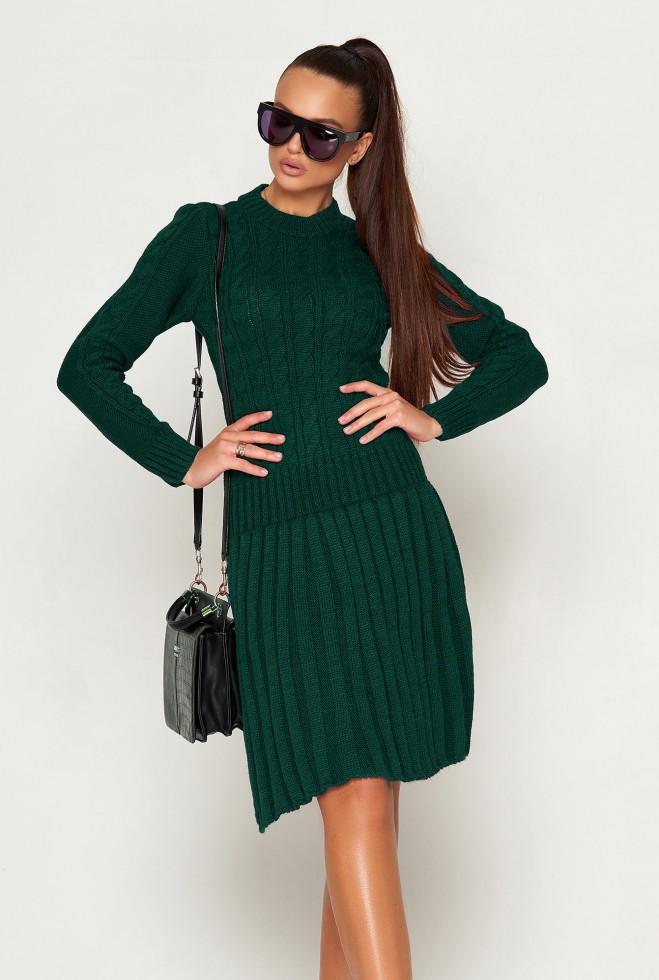 Платье вязаное ПЛ02 Изумруд