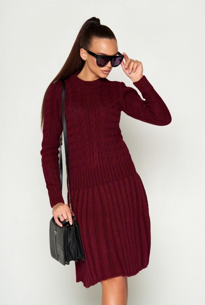 Платье вязаное ПЛ02 марсала