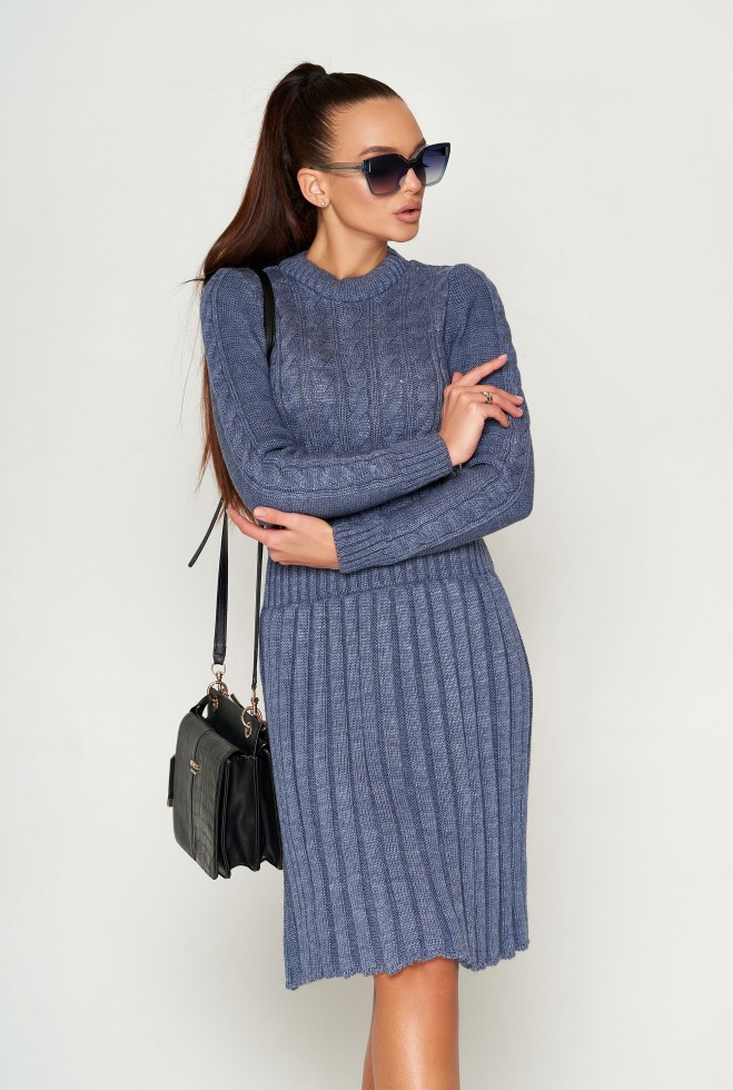 Платье вязаное ПЛ02 синий