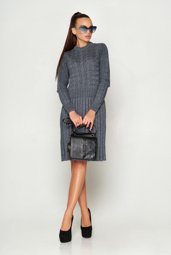 Платье вязаное ПЛ02 серый