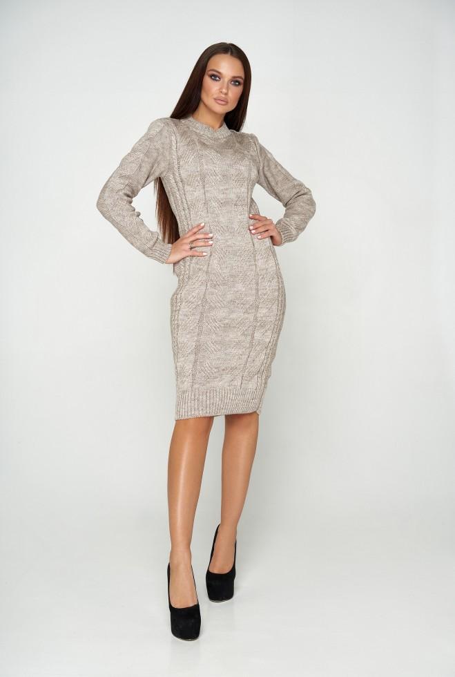 Платье вязаное Кемер 07 бежевый меланж
