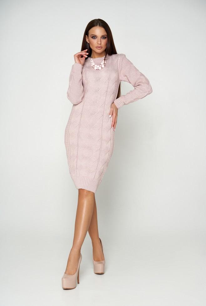 Платье вязаное Кемер 07 розовый