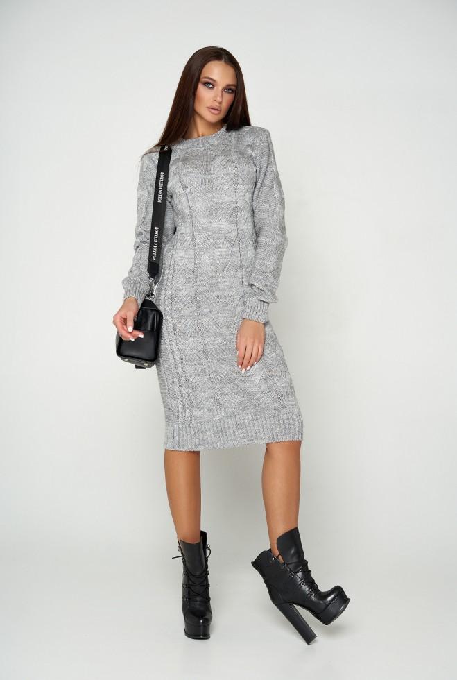 Платье вязаное Кемер 07 серый
