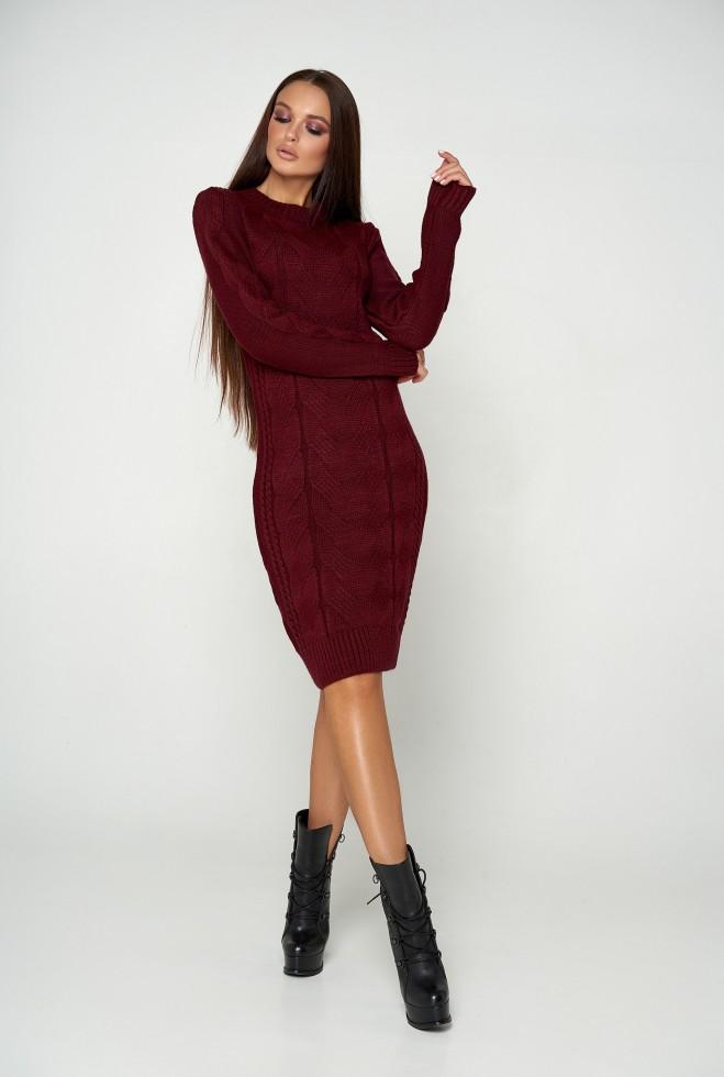 Платье вязаное Кемер 07 бордовый