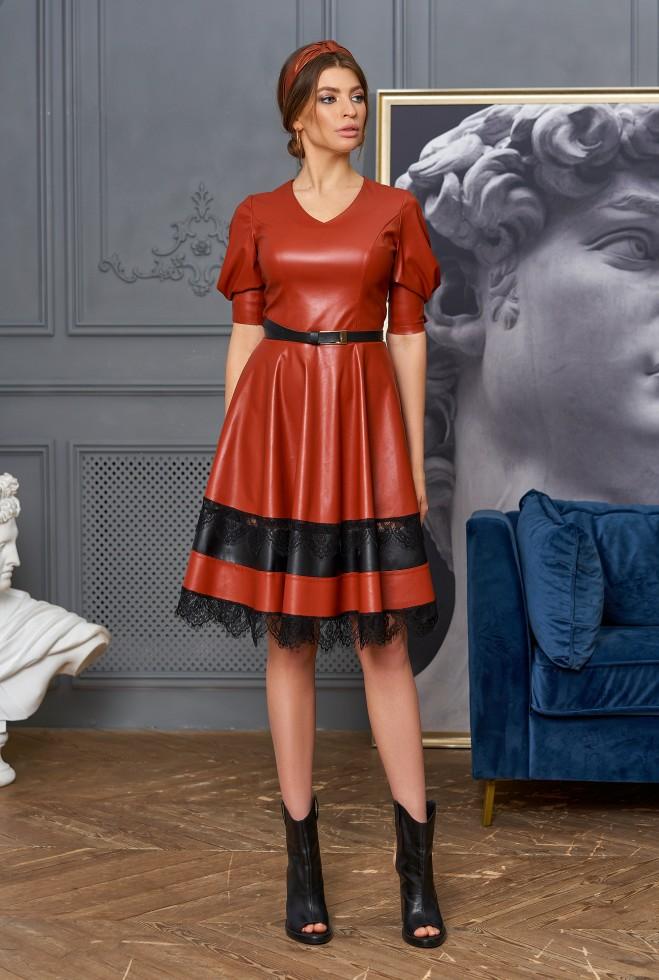 Платье Ассоль без пояса кирпичный Жадон