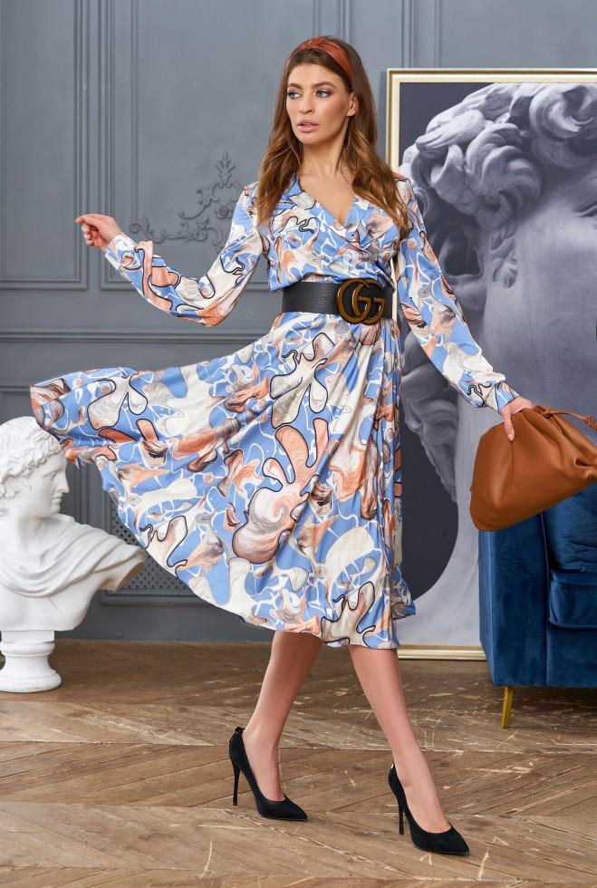 Платье Агата без ремня голубой Жадон