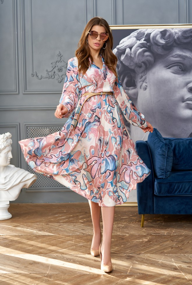 Платье Агата без ремня персиковый Жадон