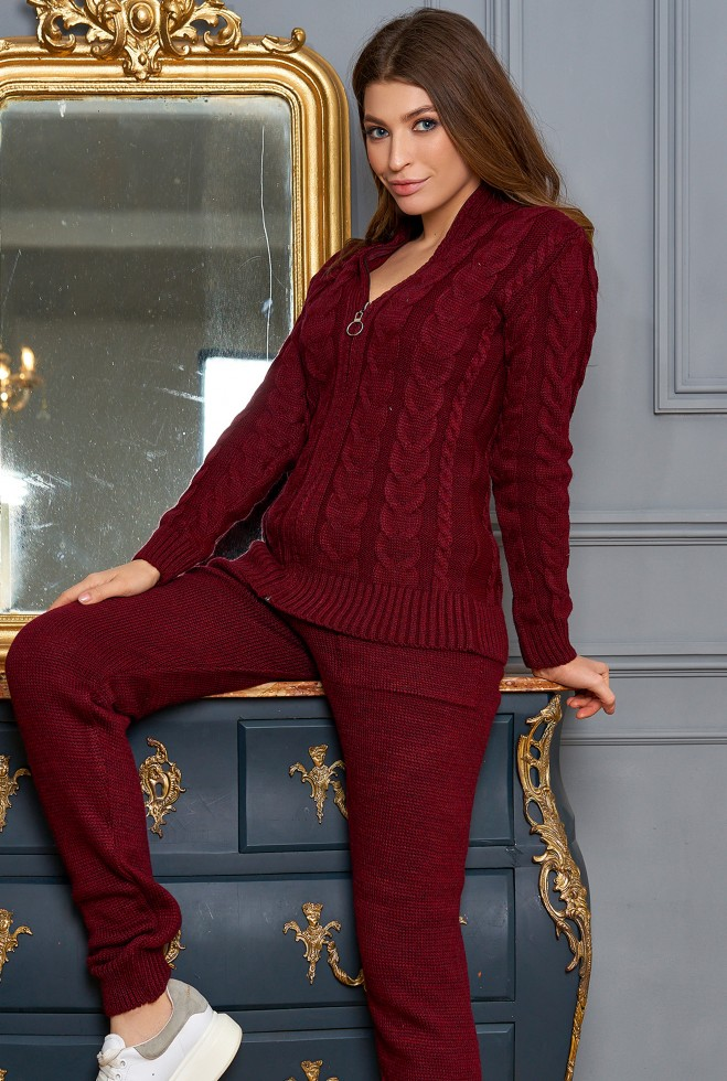 Вязаная кофта Жанна бордовый
