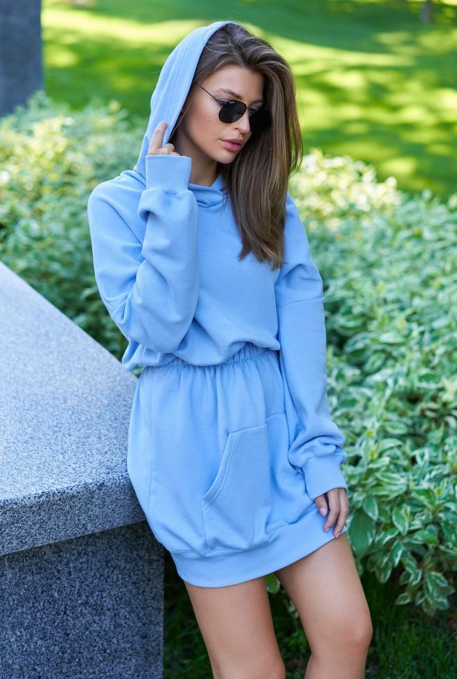 Платье-худи Виола голубой