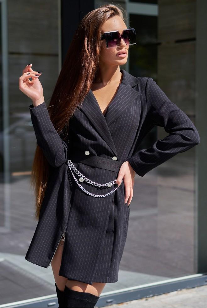 Платье Эвия с ремнем черный
