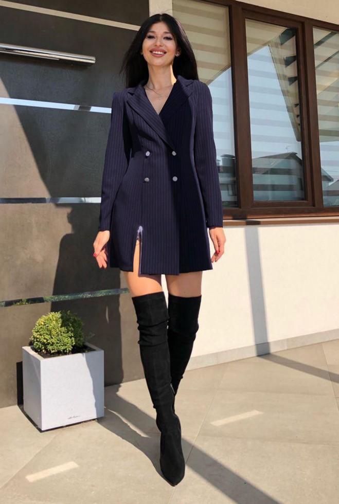 Платье Эвия без ремня  тёмно-синий