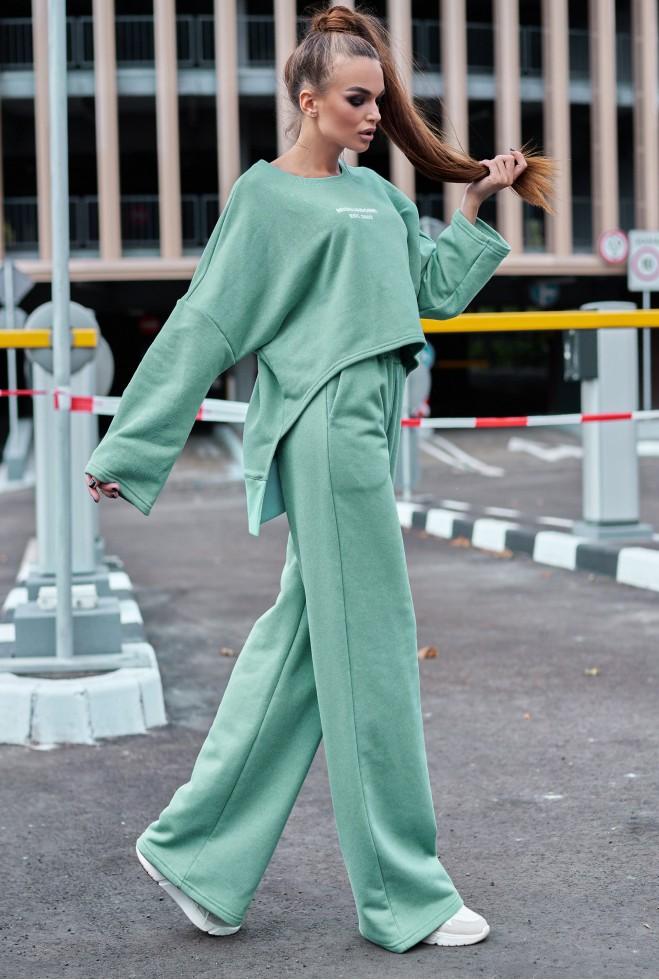 Прогулочный костюм с кюлотами Лесси оливка