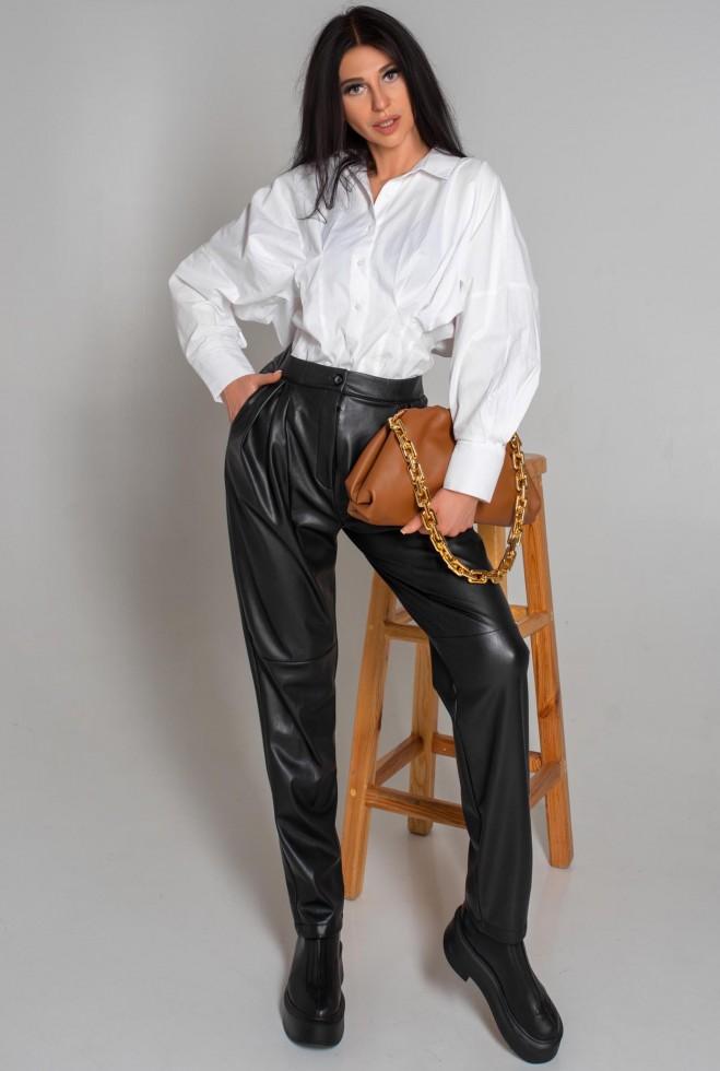 Брюки кожаные Кеш черный