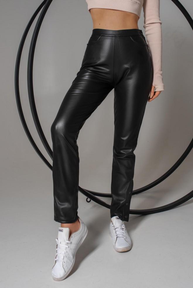 Брюки кожаные Джекки черный