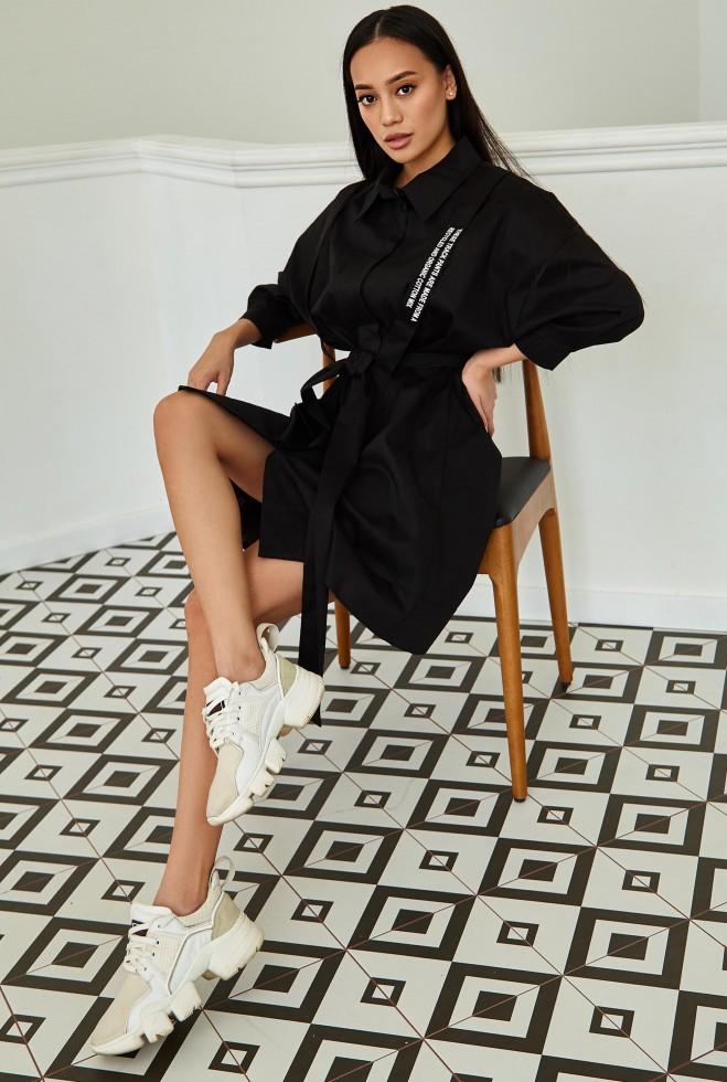 Платье с портупеей Адина черный Жадон