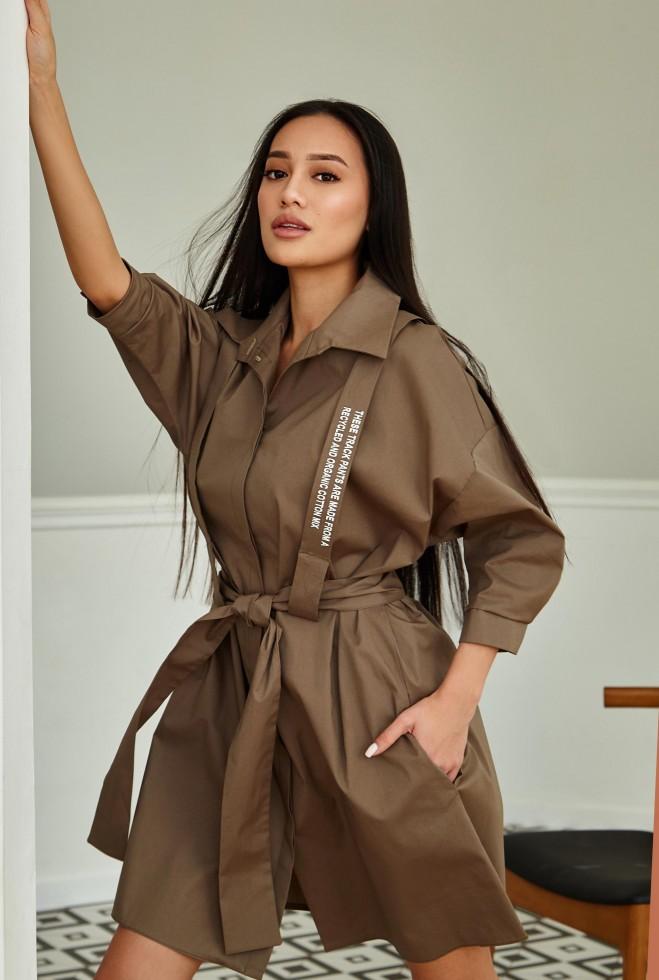 Платье с портупеей Адина хаки Жадон