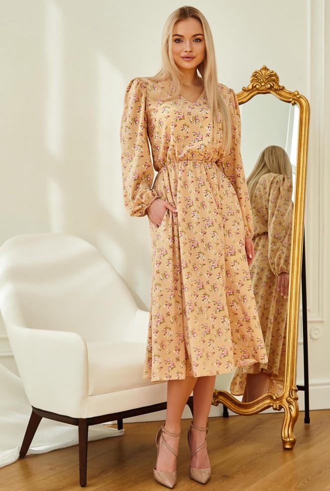 Платье Рут без ремня персиковый Жадон