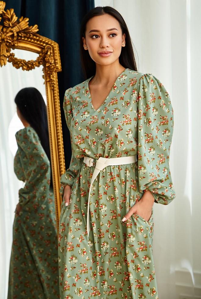 Платье Рут без ремня оливка Жадон