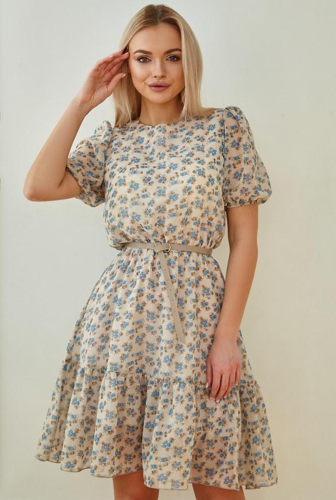 Платье Тесса с ремнем голубой Жадон