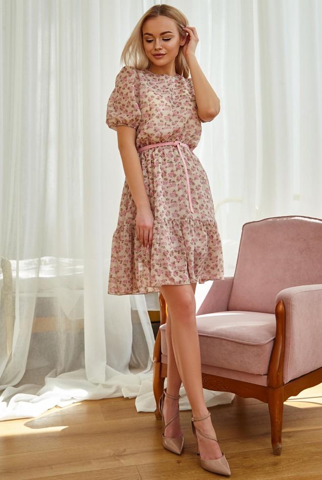 Платье Тесса с ремнем персиковый Жадон