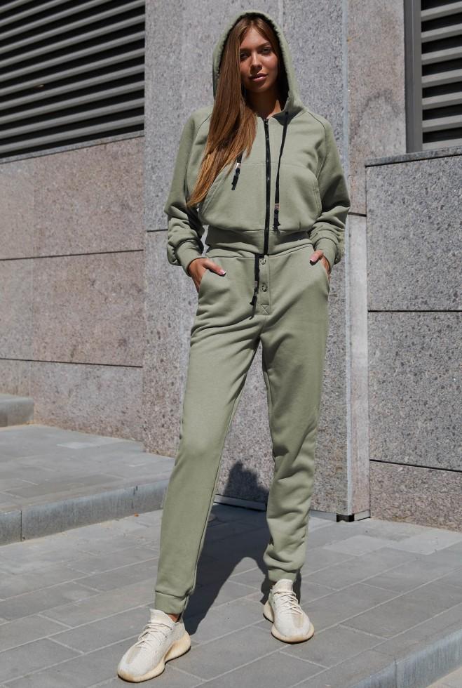 Прогулочный костюм Лонг серо-оливковый Жадон